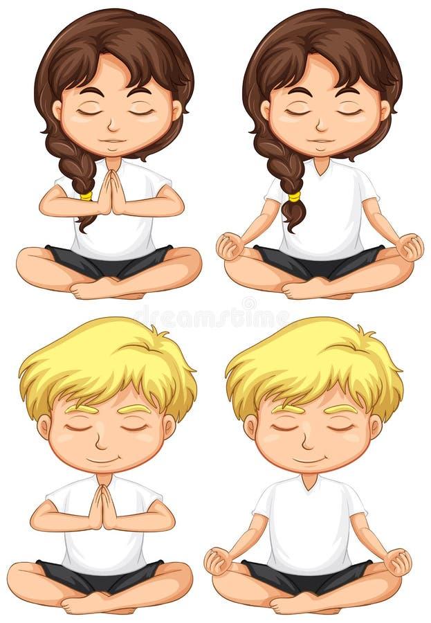 Fije de meditar de los niños jovenes ilustración del vector