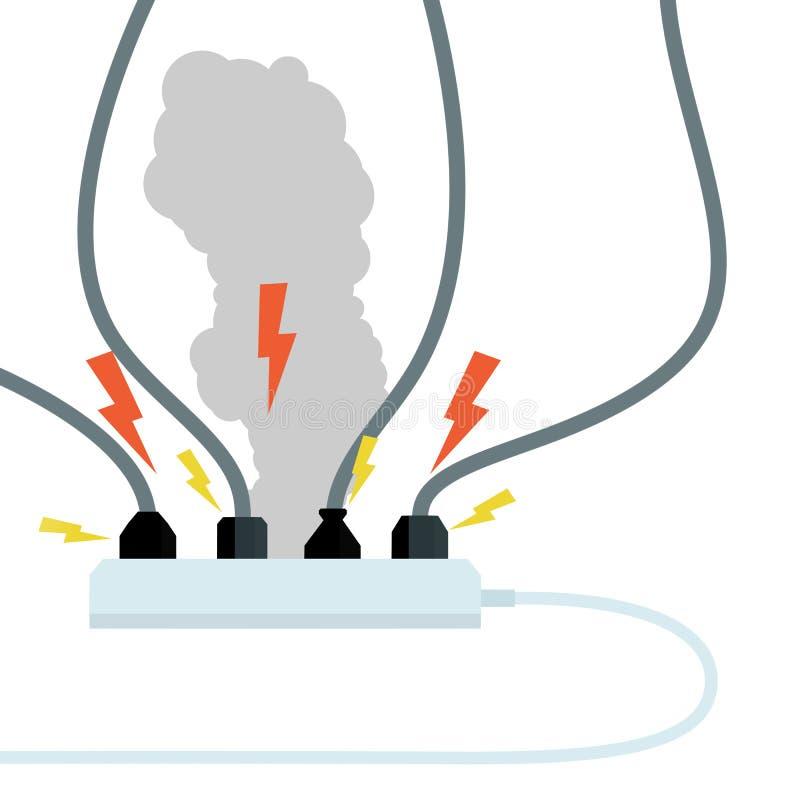 Fije de mercados eléctricos con humo gris Ejemplo plano de la historieta fotos de archivo