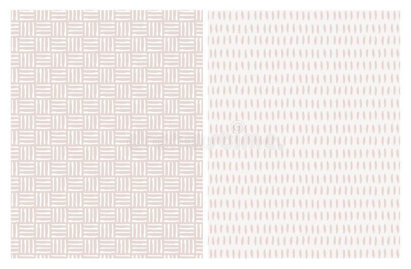 Fije de modelo abstracto lindo del vector de 2 rayas Pale Pink Irregular Brush Lines blanco y ligero libre illustration