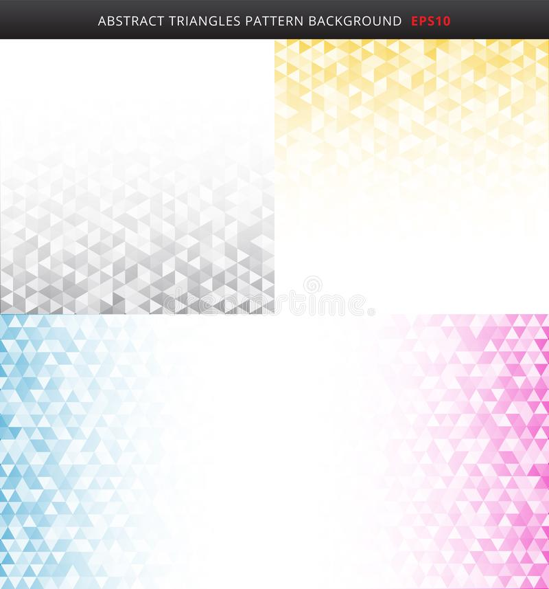 Fije de modelo geométrico rayado abstracto de los triángulos del color gris, amarillo, azul, rosado en el fondo blanco y de textu libre illustration