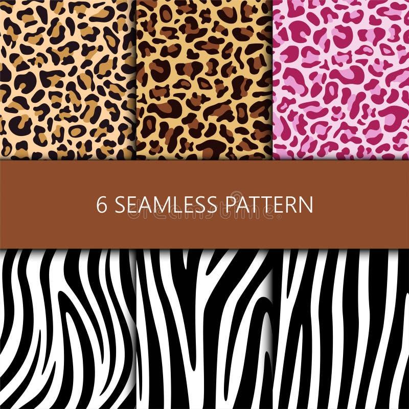 Fije de modelo inconsútil con la piel del leopardo y de la cebra ilustración del vector