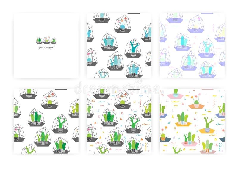 Fije de modelo inconsútil con los cactus en los terrarios de cristal Graphhics del vector stock de ilustración