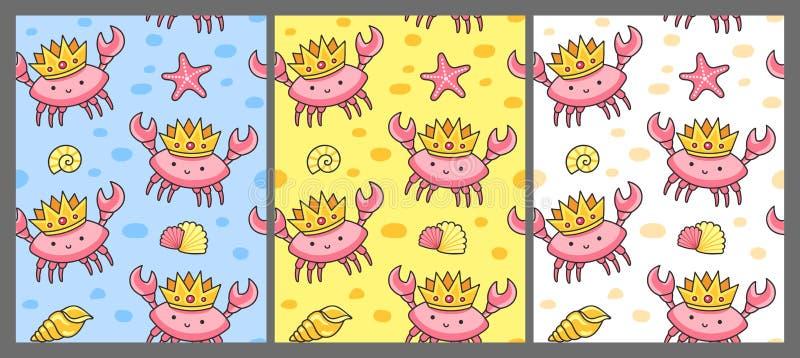 Fije de modelo inconsútil con los cangrejos en las coronas libre illustration