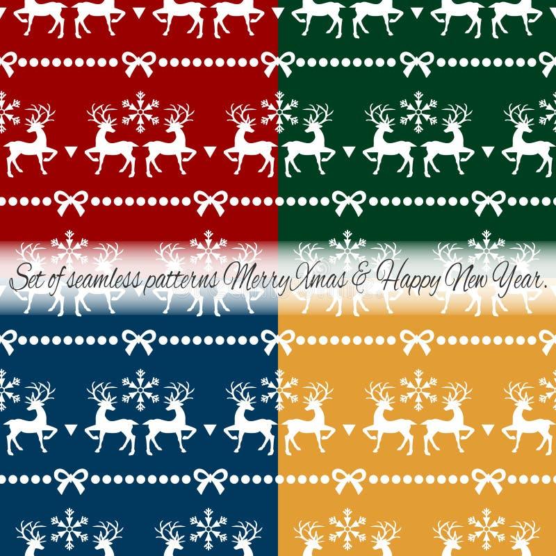 Fije de modelo incons?til de las vacaciones de la Navidad con el reno, el copo de nieve y la cinta en el color cuatro stock de ilustración