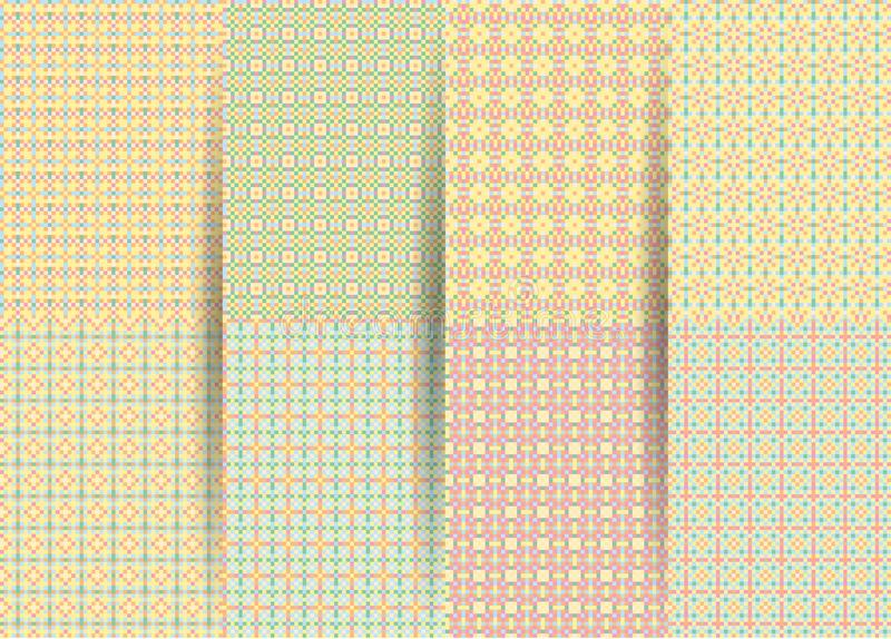 Fije de 6 modelos geométricos a cuadros inconsútiles abstractos El ackground geométrico amarillo del vector para las telas, impre ilustración del vector