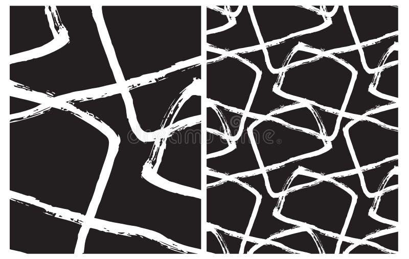 Fije de 2 modelos geométricos irregulares exhaustos del vector de la mano Líneas blancas del cepillo aisladas en un fondo negro libre illustration
