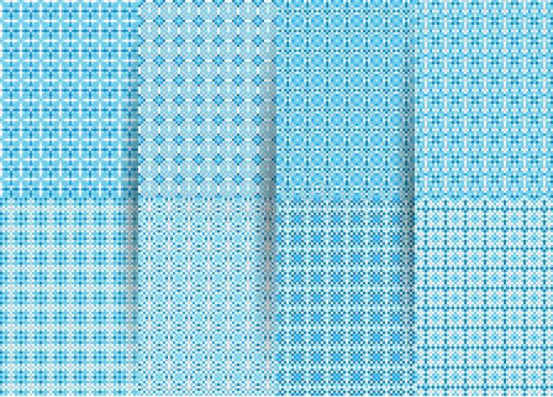Fije de 6 modelos geom?tricos a cuadros incons?tiles abstractos Ackground geométrico azul del vector para las telas, impresiones, libre illustration