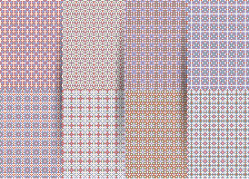 Fije de 6 modelos geom?tricos a cuadros incons?tiles abstractos Ackground geométrico de la lila del vector para las telas, impres stock de ilustración