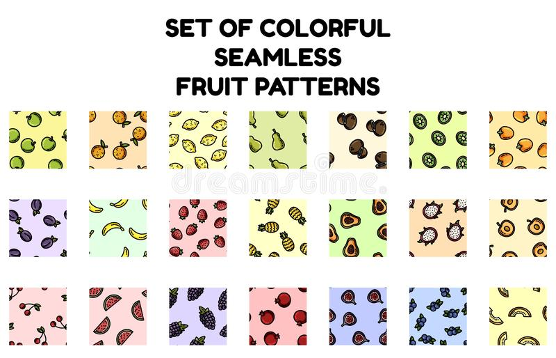 Fije de modelos inconsútiles de la fruta colorida Colección plana del diseño de tejas de la textura del fondo ilustración del vector