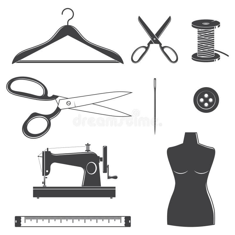 Fije de modistería de costura y de adaptar iconos de la silueta del equipo Vector Fijado incluya la aguja de costura, maniquí, bo libre illustration