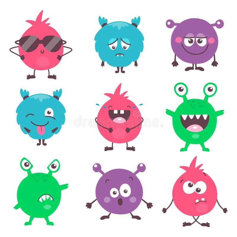 Fije de monstruos coloridos de la historieta linda con diversas emociones Colección divertida de los emojis de los emoticons para libre illustration