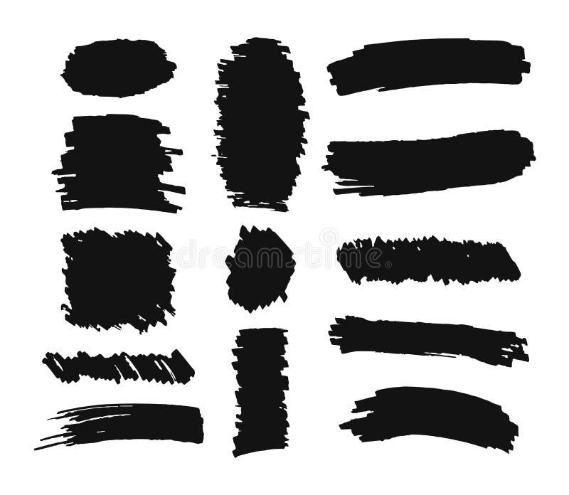 Fije de movimientos exhaustos del cepillo de la mano en el fondo blanco libre illustration