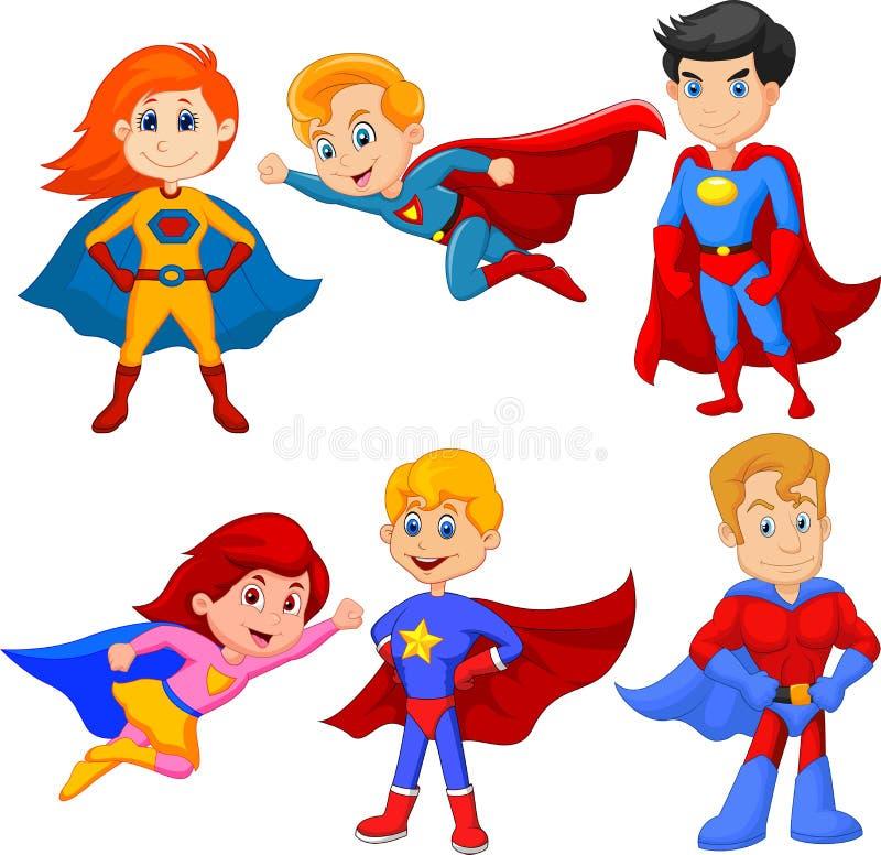Fije de muchacha y de muchacho del super héroe con diversa actitud stock de ilustración