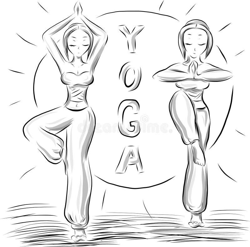 Fije de muchachas y del sol de la yoga libre illustration