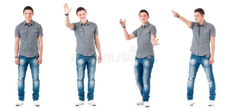 Fije de muchacho adolescente en blanco fotografía de archivo libre de regalías