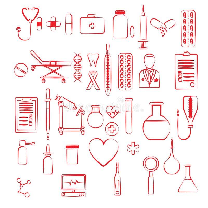 Fije de muchos artículos rojos lineares lineares del icono en un tema farmacéutico médico: frascos, píldoras, dispositivos, inyec ilustración del vector