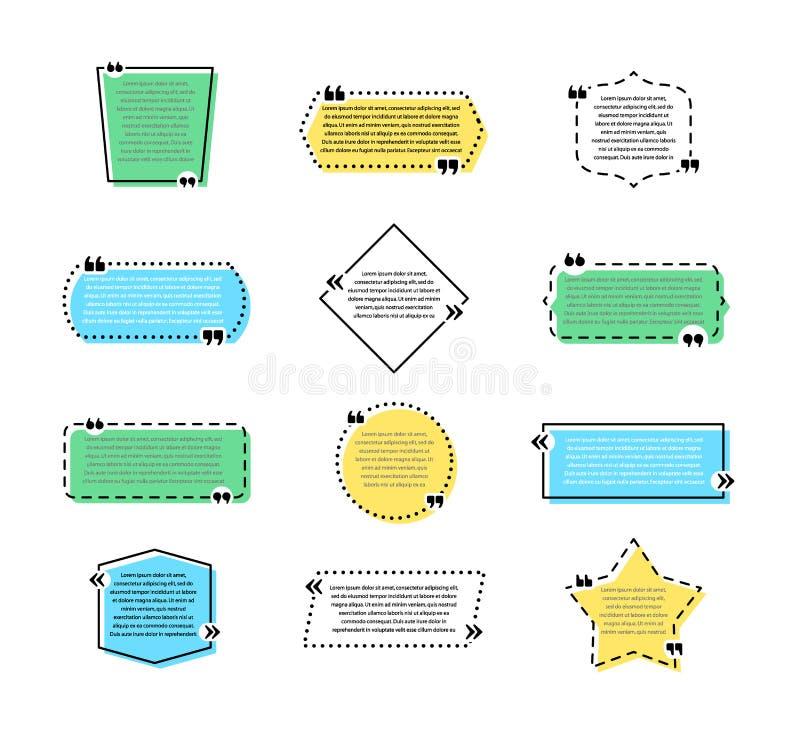 Fije de muestras coloreadas de la cita con diversas formas geométricas Burbujas creativas del discurso, marcos vacíos de la citac stock de ilustración