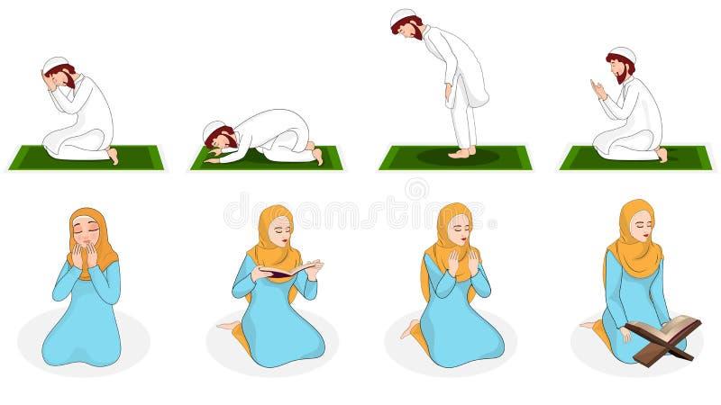 Fije de mujer musulmán y del hombre que ruegan en diversa posición libre illustration