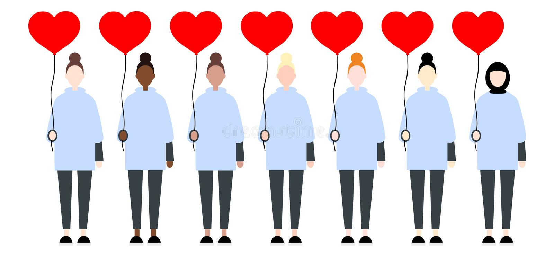 Fije de mujeres diversas del vector de la raza en la ropa casual que lleva a cabo corazones rojos del globo Estilo plano de Valen libre illustration