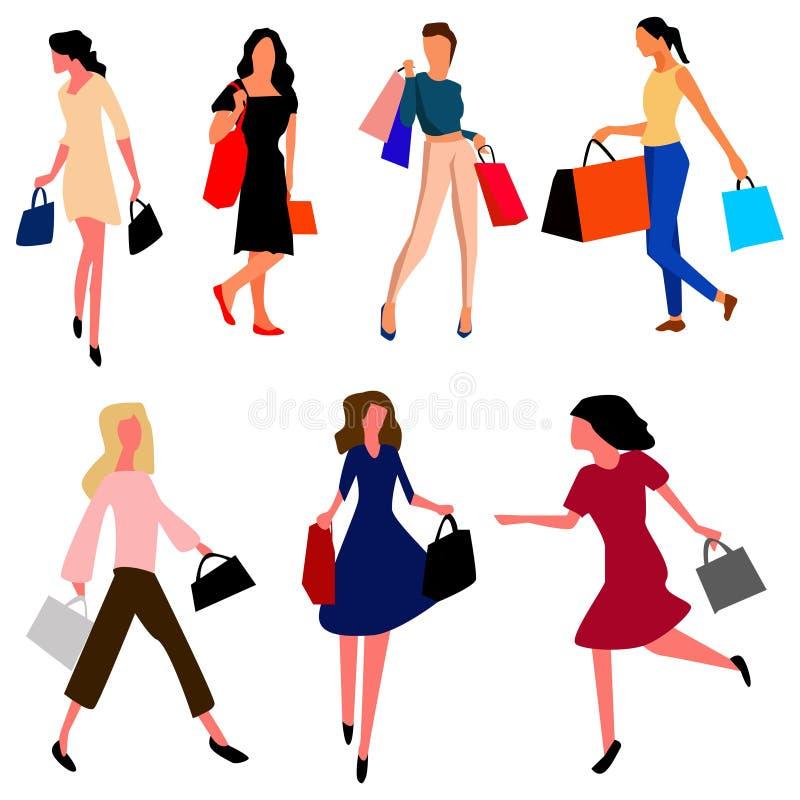 Fije de mujeres jovenes con los bolsos después de hacer compras Vector libre illustration