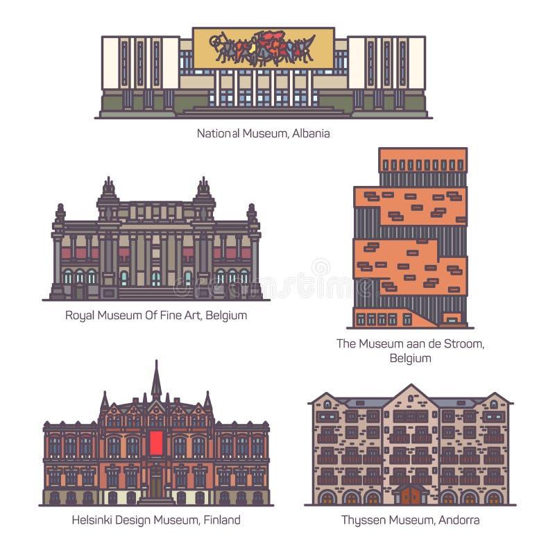 Fije de museos europeos aislados en línea libre illustration