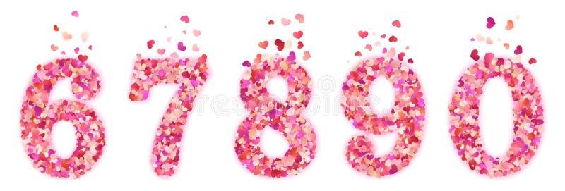 Fije de números decorativos coloridos del confeti de los corazones de día de San Valentín Aislado en el fondo blanco EPS 10 libre illustration