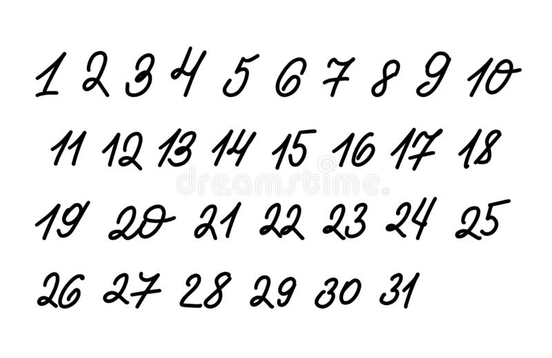 Fije de números exhaustos de diversa mano ilustración del vector