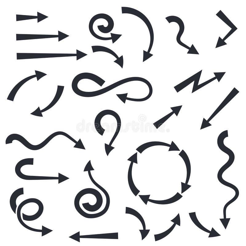 Fije de negro encrespado encima de flechas stock de ilustración