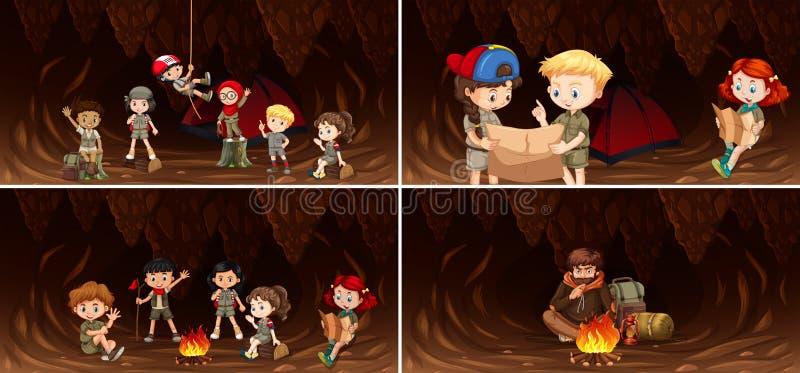 Fije de niños que acampan en cueva ilustración del vector