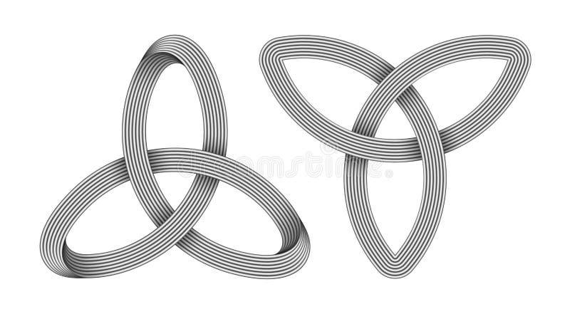 Fije de 2 nudos de Triquetra hechos de tiras entrecruzadas metálicas S?mbolo c?ltico de la trinidad Ilustraci?n del vector stock de ilustración