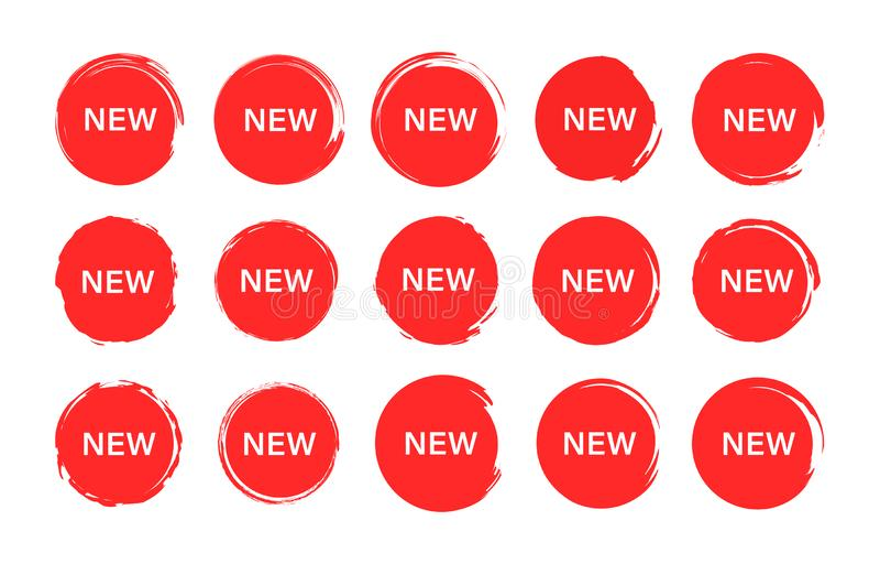 Fije de nueva etiqueta de la etiqueta Sellos, insignias y banderas del Grunge Oferta especial, venta caliente, el mejor precio Co stock de ilustración