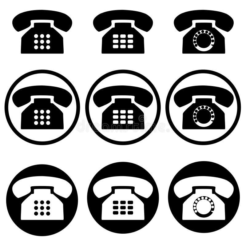 fije de nueve iconos del número de contacto del teléfono stock de ilustración