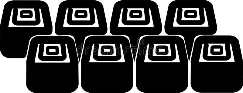 Fije de ocho iconos del sushi stock de ilustración