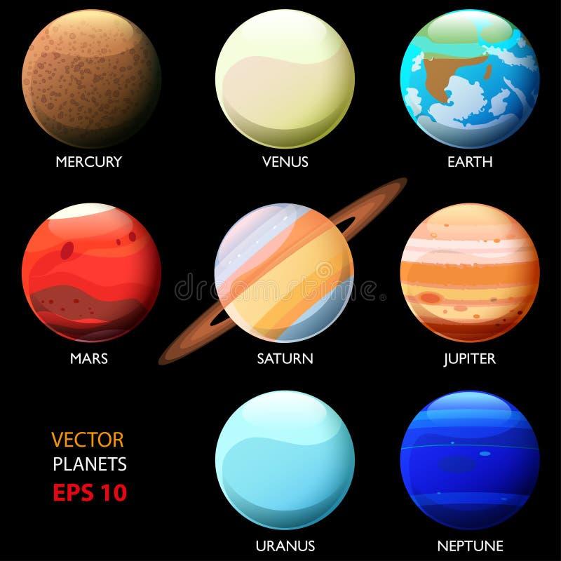 Fije de ocho planetas de la Sistema Solar Uranio y Neptuno de Mercury Venus Earth Mars Jupiter Saturn Estilo de la historieta ilustración del vector