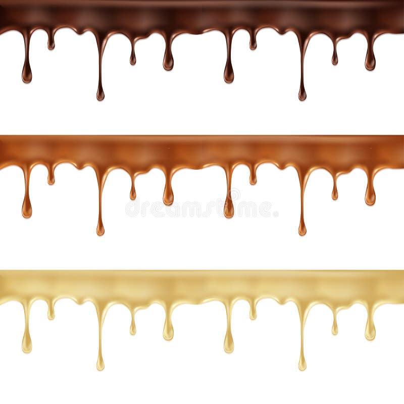 fije de oscuridad, de blanco y del goteo derretidos del chocolate con leche libre illustration