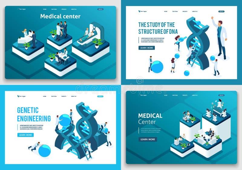 Fije de páginas de aterrizaje del concepto isométrico Estructura de la DNA de la investigación de los científicos, centro médico, libre illustration