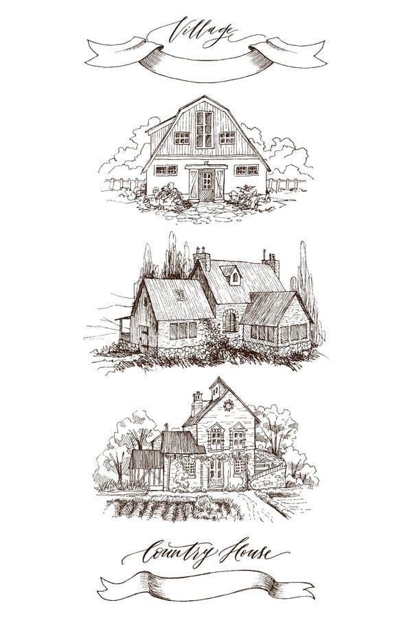 Fije de paisaje rural con el cortijo y el jardín viejos Ejemplo dibujado mano en estilo del vintage Cinta retra con ilustración del vector
