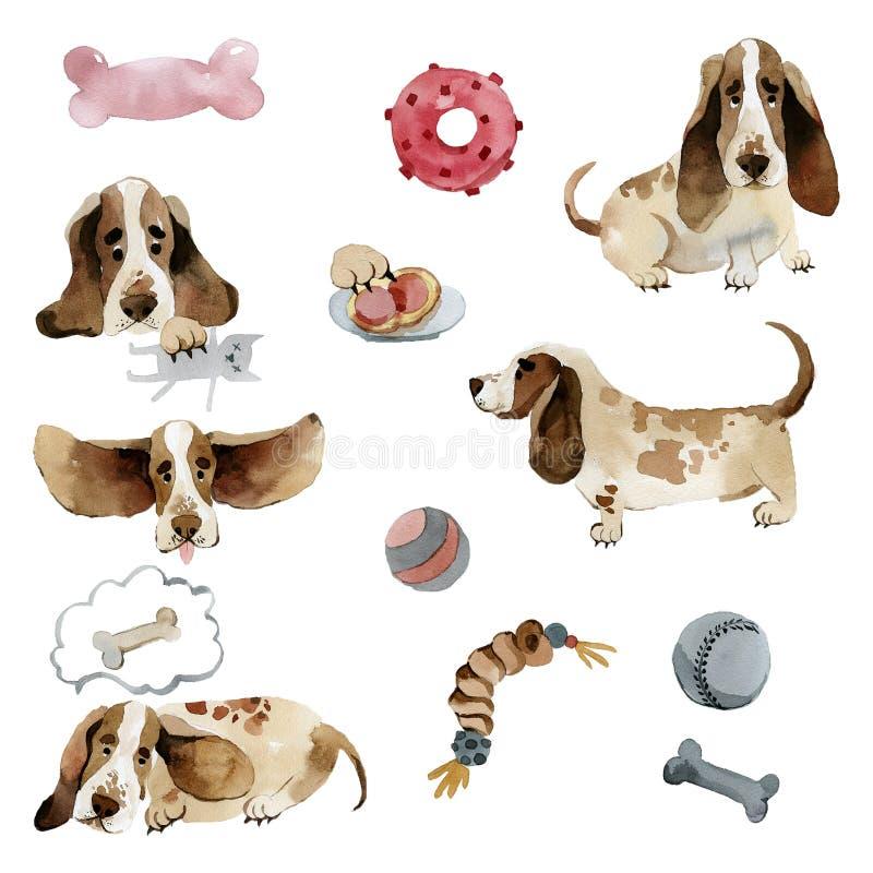 Fije de perro de afloramiento de los perros en diversas actitudes con los juguetes ilustración del vector