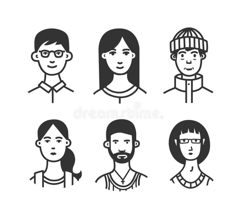 Fije de personajes de dibujos animados o los avatares con los diversos peinados y accesorios dan dibujado con las líneas de conto libre illustration