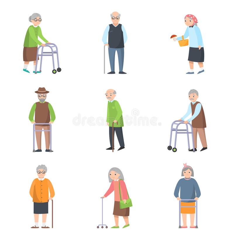 Fije de personas mayores en diversas actitudes con el objeto adicional libre illustration