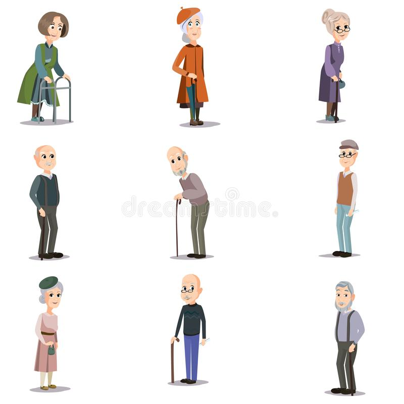 Fije de personas mayores mayores en diversas situaciones y posición stock de ilustración