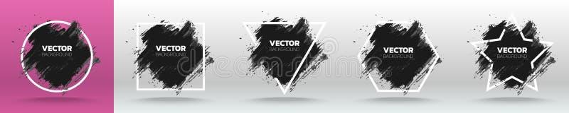 Fije de plantilla abstracta del fondo del grunge negro Cepille el diseño del movimiento de la tinta de la pintura sobre el marco  ilustración del vector