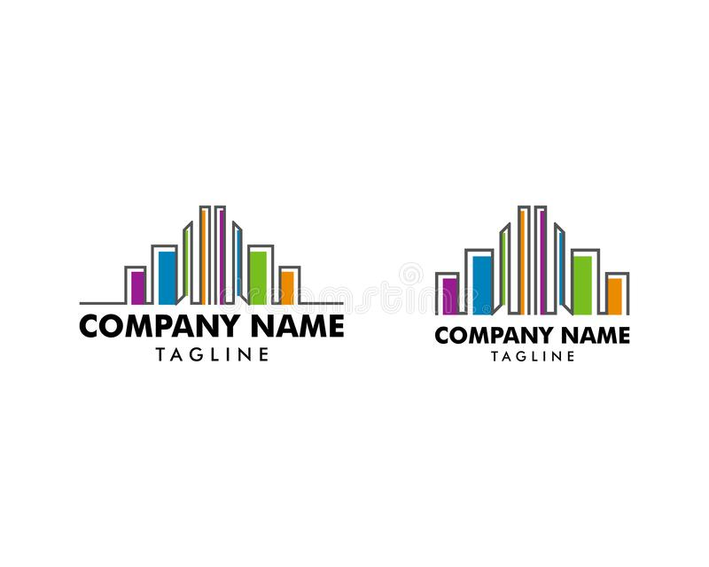Fije de plantilla colorida del logotipo de los edificios de las propiedades inmobiliarias libre illustration