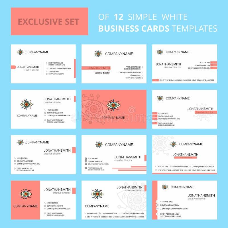 Fije de plantilla creativa de la tarjeta de Busienss del ojo de 12 engranajes Fondo logotipo y de la tarjeta de visita creativos  ilustración del vector