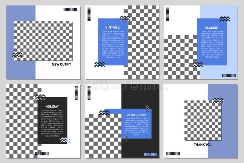 Fije de plantilla cuadrada editable de la bandera Bandera Editable para los anuncios sociales del poste y de la web/de Internet d ilustración del vector