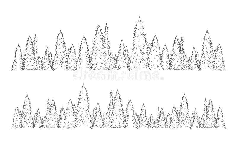 Fije de plantilla exhausta de la bandera de la Navidad del bosque del pino del bosquejo de dos manos ilustración del vector