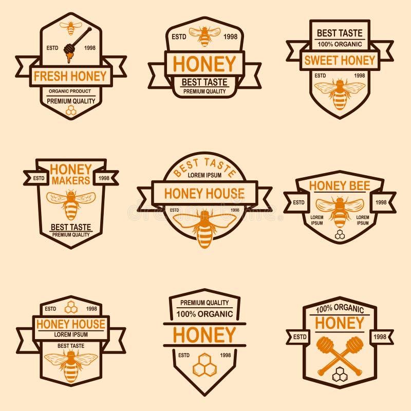 Fije de plantilla de las etiquetas de la miel Iconos de la abeja Diseñe el elemento para el logotipo, etiqueta, emblema, muestra, ilustración del vector