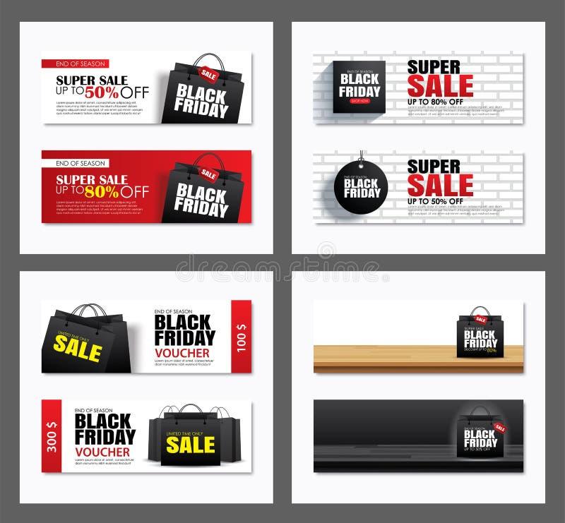 Fije de plantilla negra de la cubierta del bolso de compras de la venta de viernes y del diseño de la bandera de la web Uso para  stock de ilustración