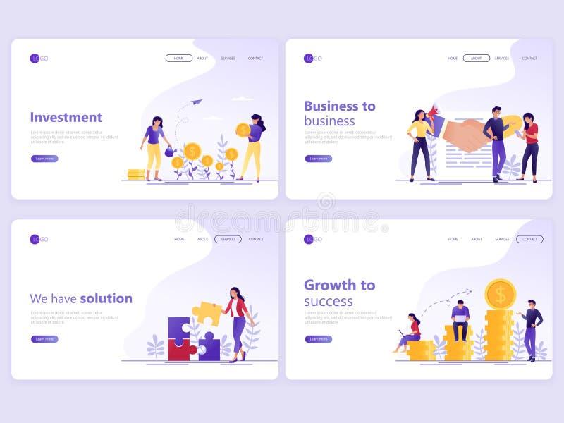 Fije de plantillas de aterrizaje de la página Inversión empresarial, sociedad, consulta financiera, crecimiento al éxito Ejemplo  libre illustration