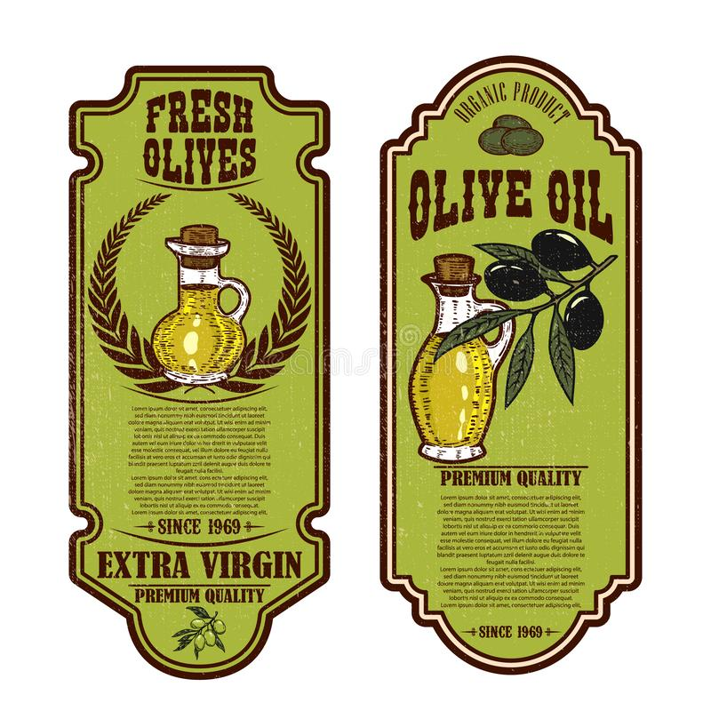 Fije de plantillas del aviador del aceite de oliva del vintage Dise?e el elemento para el logotipo, etiqueta, emblema, muestra, i ilustración del vector